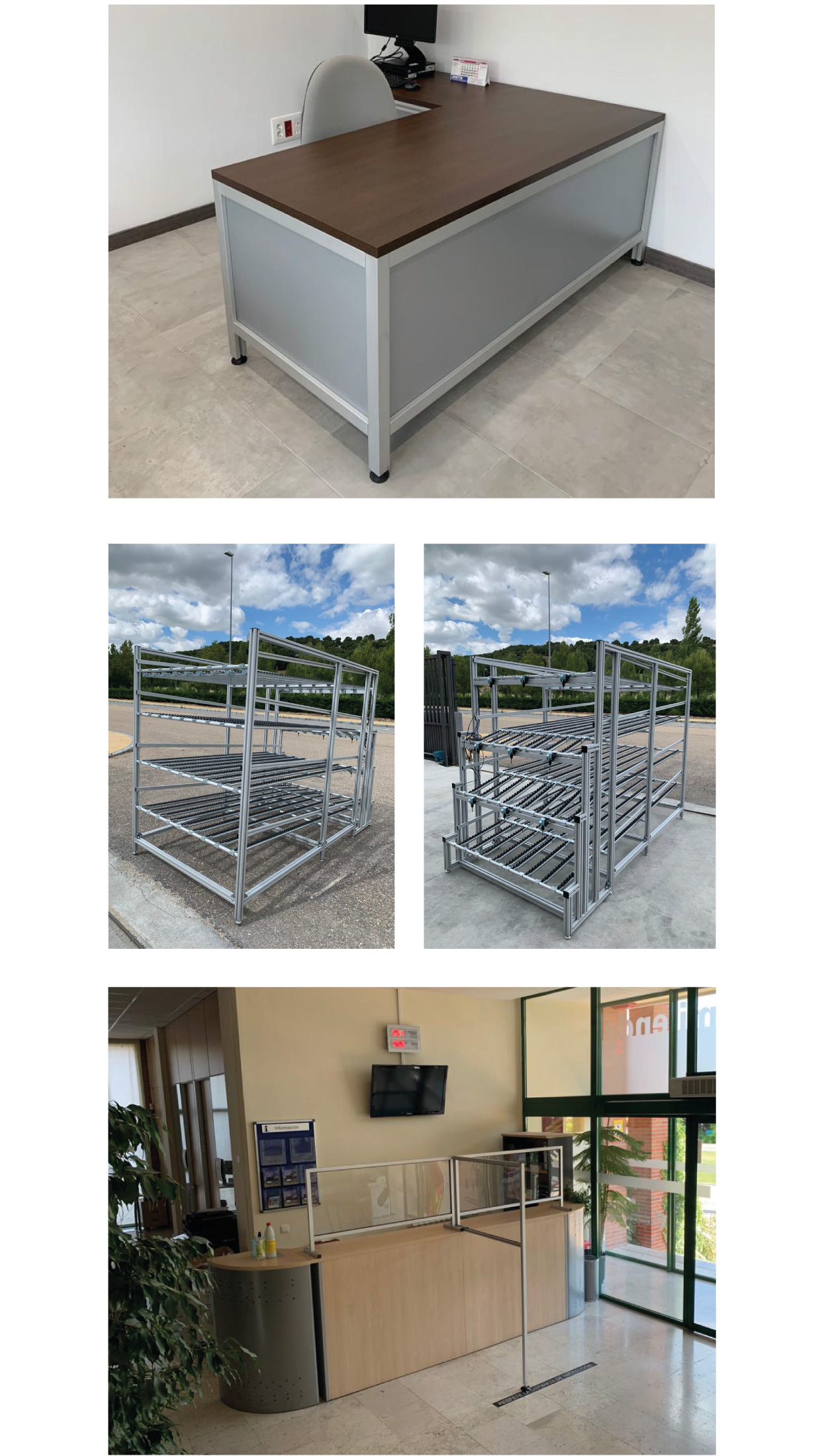 Paneles realizados con perfil de aluminio